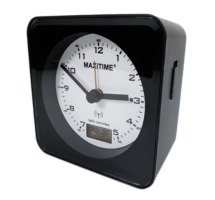 maxitime analog digital funkwecker wecker snooze beleuchtung schwarz 22071 ebay. Black Bedroom Furniture Sets. Home Design Ideas