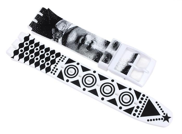 swatch hypnotic eye ersatzband silikon wei schwarz 19mm. Black Bedroom Furniture Sets. Home Design Ideas