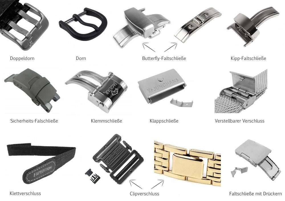 Verschiede Schließen für Armbanduhren