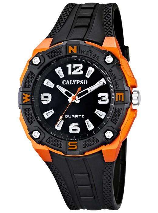 calypso by festina armbanduhr herrenuhr schwarz orange. Black Bedroom Furniture Sets. Home Design Ideas